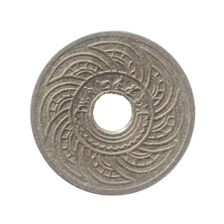 isolated of 1913 old Thai coin on white background. In the reign of King Rama VI of Siam Kingdom