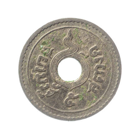 isolated of 1913 old Thai coin on white background. In the reign of King Rama VI of Siam. 5 satang Reklamní fotografie