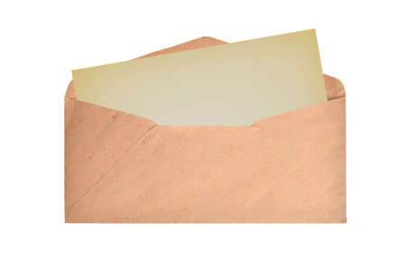 Brown envelope with blank card on a white background. Flat lay. Top view.