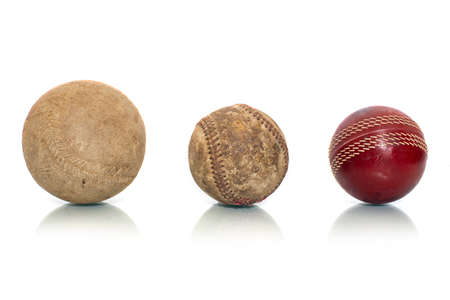 Vintage baseball and Cricket stress ball isolated on a white background. Reklamní fotografie