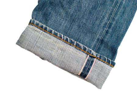 Close up of denim jeans at leg