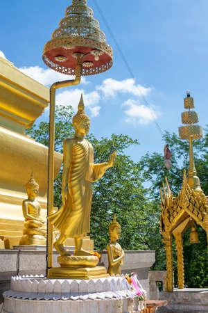 Buddha statue, Buddha walking posture at Pagoda temple in Thailand. 版權商用圖片