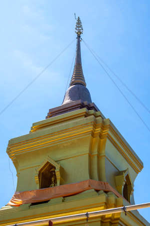 Pagoda temple in Thailand with  blue sky