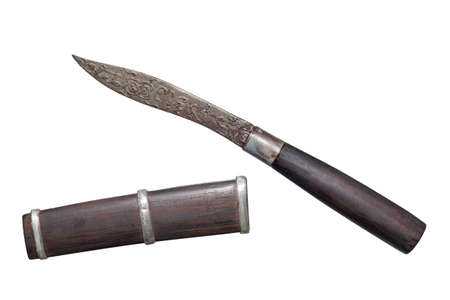 Thai Style Exorcist's Knife of Luang Phor Chab, Khlong Chan Temple, Huai Ngu Subdistrict, Hankha District, Chainat Province Stock Photo