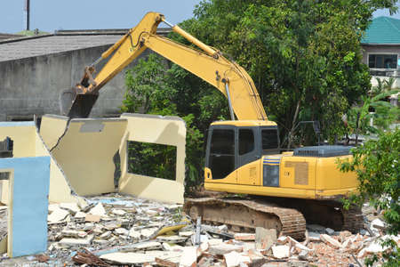 Large excavator working at construction site. Backhoe working.