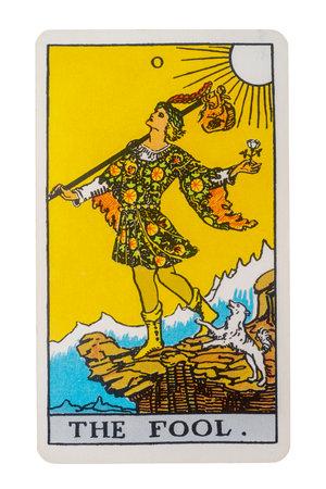 Yala Province, Thailand 29 August 2020. illustrative editorial tarot cards, the fool. Editorial