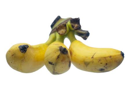 Ripe yellow bananas fruits on white background.