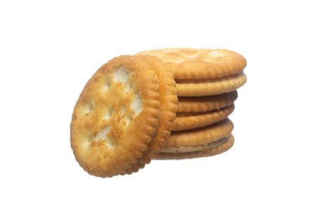 Peanut butter biscuit on a white background. Reklamní fotografie