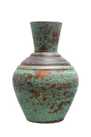 Vintage style terracotta vase isolated on white background