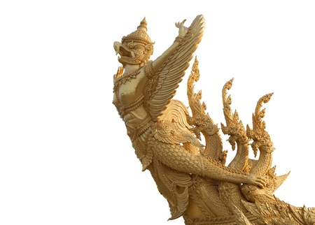 sculpture of garuda  flying on white background
