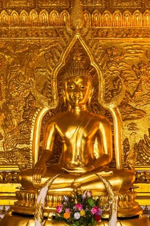 Golden  buddha in thailand temple photo