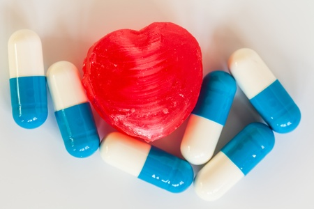 medicines  and red heart