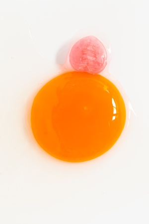 egg yolk and pink heart