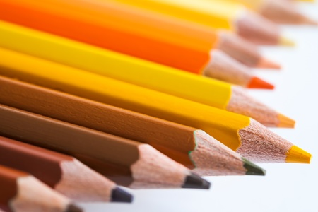 colorful of pencil in hot tone Stock Photo