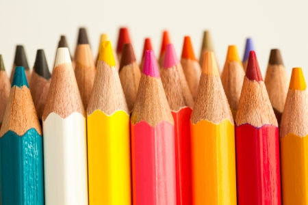 colorful of pencils in hot tone Stock Photo