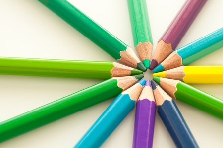 colorful of pencils in cool tone Stock Photo