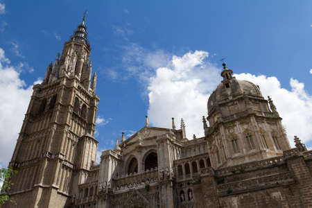 View of Toledos Cathedral towers. Spain Stock Photo