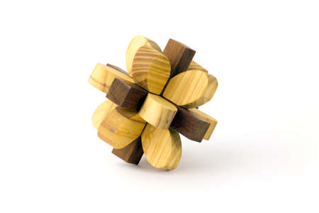 Wooden puzzle on a white background