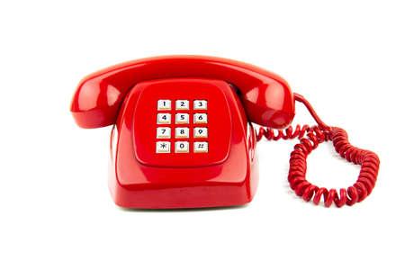 telephone: Un viejo tel�fono digital de estilo aislado en blanco