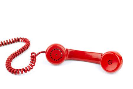 Telefoonhoorn en koord, geïsoleerd op witte achtergrond Stockfoto