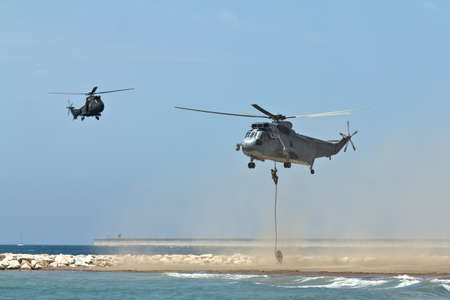 Malaga, Spain - May 28, 2011: Sea King helicopter of the Spanish Navy in the Spanish Army Day.