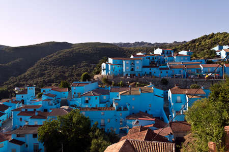 Juzcar, Malaga (Spain) - June 16, 2011: Andalusien village painted blue for Smurfs movie launch