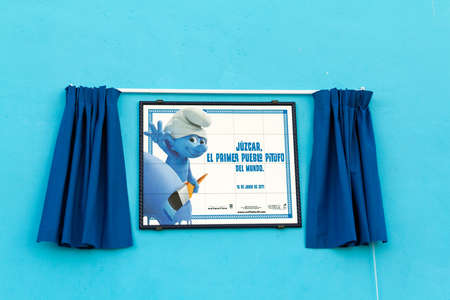 Juzcar, Malaga (Spain) - June 16, 2011: Sign of the first smurf village in the world