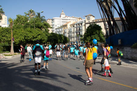 MALAGA, SPAIN - JUNE 19: Unidentified skaters at the 6th Skate Day race on June 19, 2011 in Malaga, Spain