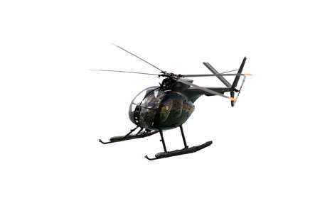Hughes 369HM helicopter of the Spanish Navy isolated on white Stock Photo