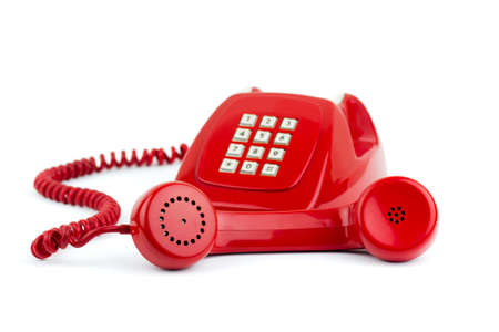 1970 -1980 old fashioned digital telephone isolated on white photo