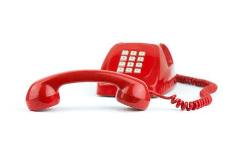 red tube: 1970-1980 viejo anticuado tel�fono digital aislado en blanco