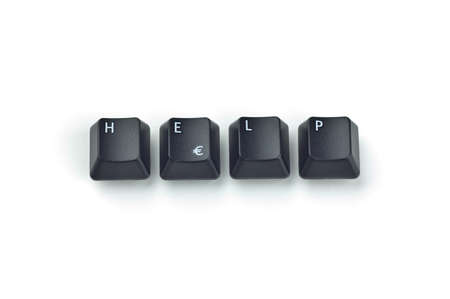 Four black keyboard keys forming HELP word over white background Stock Photo