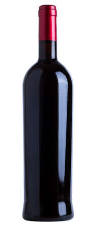 Red wine bottle unlabeled isolated over white background Stock Photo