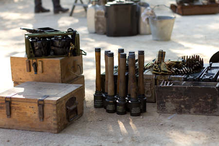 MURCIA, SPAIN - OCTOBER 15:  Old grenades and bullets. Historical military reenacting on October 15, 2011 in Murcia, Spain.