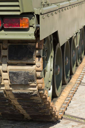armour plating: Detail of a tank with chains Stock Photo