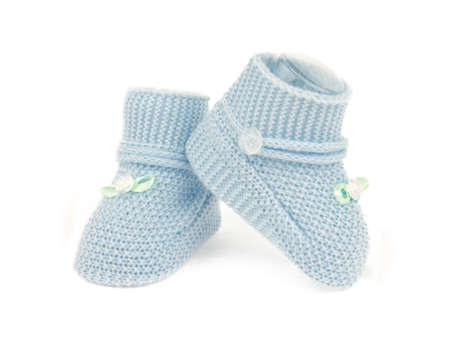 bootees: Blue baby boy shoes isolated on white background