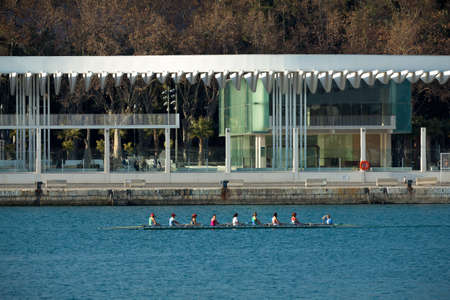 MALAGA, SPAIN - FEBRUARY 29:  Team of women train for the next row competition in front of the new pier on February 29, 2012 in Malaga, Spain.
