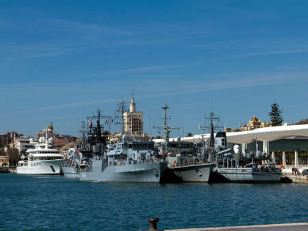 MALAGA, SPAIN - MARCH 4:  Several navy minesweepers of NATO force SNMCMG2 are moored in the new dock on March 4, 2012 in Malaga, Spain.