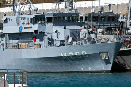 MALAGA, SPAIN - MARCH 4:  Turkish navy minesweeper TCG Akçakoca of NATO force SNMCMG2 is moored in the new dock on March 4, 2012 in Malaga, Spain.