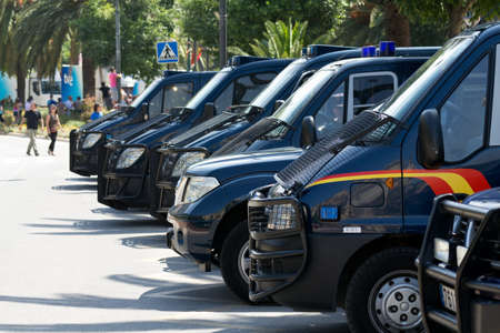 MALAGA, SPAIN - MAY 29:  Police vehicles parked next to the park during the Spanish Armed Forces Day parade on May 29, 2011 in Malaga, Spain. Stock Photo - 12572818