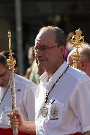 MALAGA, SPAIN - JULY 16:  Malaga Mayor Francisco de la Torre accompanies the Virgin at the parade during the