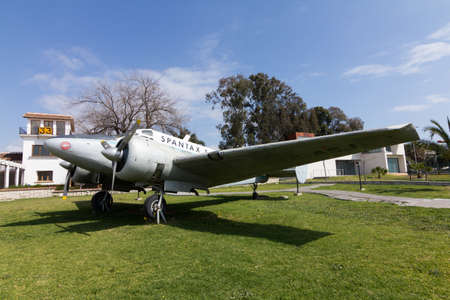 aeronautics: MALAGA, SPAIN - MARCH 10:  Old Beech 18 airplane from old airline Spantax is displayed in Malaga Aeronautics Museum on March 10, 2012 in Malaga, Spain.