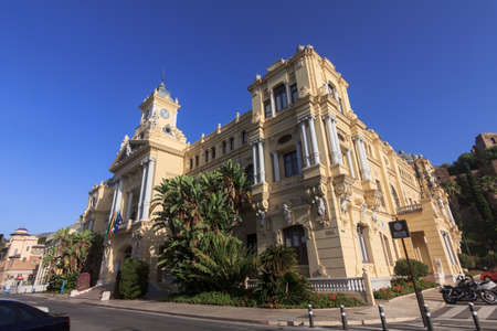 City Hall of Malaga in Andalusia, Spain  Clear blue sky