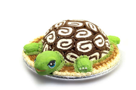 Turtle shaped cake on white background photo