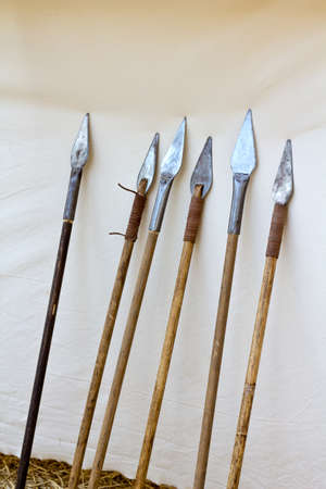 Six antique spears leaning on canvas