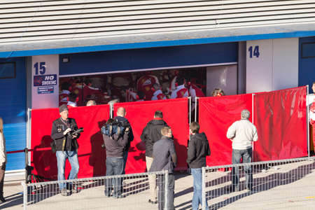 martinez: JEREZ DE LA FRONTERA, SPAIN - FEBRUARY 08  Photographers waiting for Pedro Martinez de la Rosa on his first Test with Ferrari at Jerez Circuit on February 08, 2013, in Jerez de la Frontera, Spain