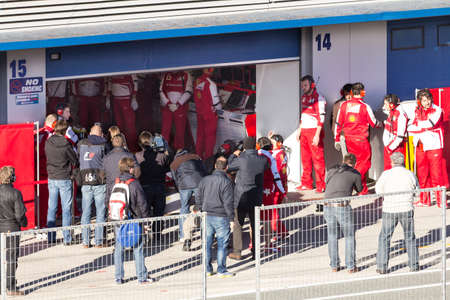 martinez: JEREZ DE LA FRONTERA, SPAIN - FEBRUARY 08  Photographers waiting for Pedro Martinez de la Rosa on his first Test with Ferrari at Jerez Circuit on February 08, 2013, in Jerez de la Frontera, Spain