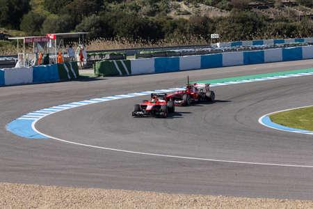 scuderia: JEREZ DE LA FRONTERA, SPAIN - FEBRUARY 08  Luiz Razia of Marussia F1 Team followed by Pedro Martinez de la Rosa of Scuderia Ferrari on the first Test at Jerez Circuit on February 08, 2013, in Jerez de la Frontera, Spain