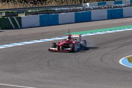 graining: JEREZ DE LA FRONTERA, SPAIN - FEBRUARY 08  Pedro Martinez de la Rosa of Scuderia Ferrari F1 Team  locks the wheels on the first Test at Jerez Circuit on February 08, 2013, in Jerez de la Frontera, Spain
