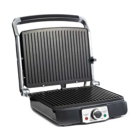 Black and silver toaster isolated on white background photo